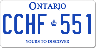 ON license plate CCHF551