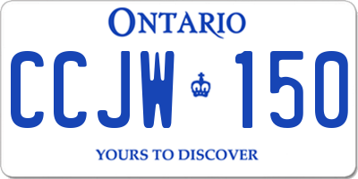 ON license plate CCJW150