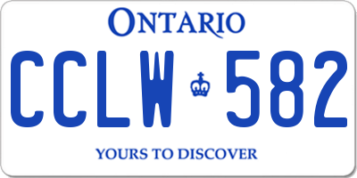 ON license plate CCLW582