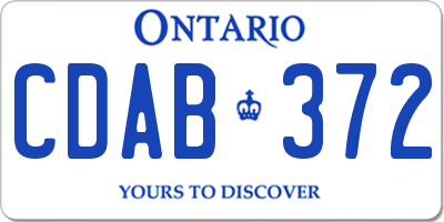 ON license plate CDAB372