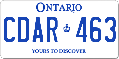 ON license plate CDAR463
