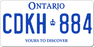 ON license plate CDKH884