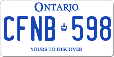 ON license plate CFNB598