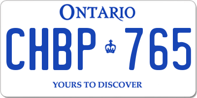 ON license plate CHBP765