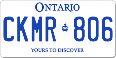 ON license plate CKMR806