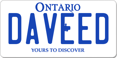 ON license plate DAVEED