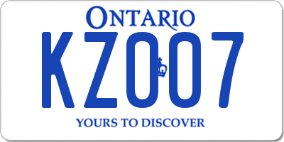 ON license plate KZ007