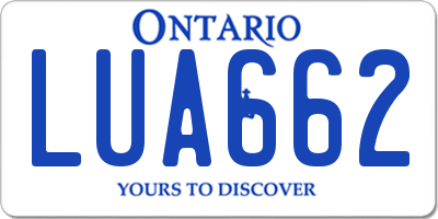 ON license plate LUA662