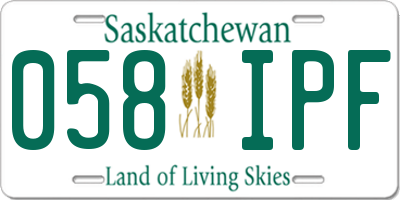 SK license plate 058IPF