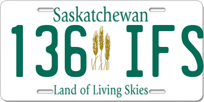SK license plate 136IFS
