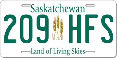 SK license plate 209HFS
