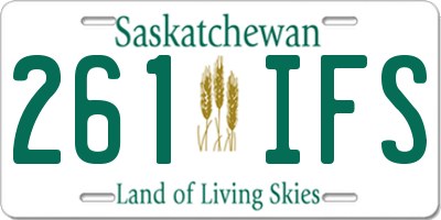 SK license plate 261IFS