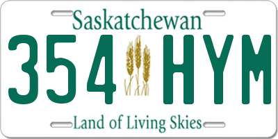 SK license plate 354HYM