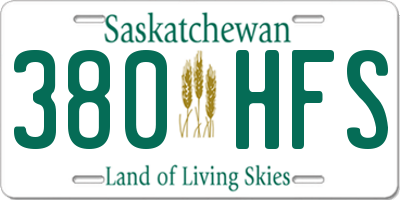 SK license plate 380HFS